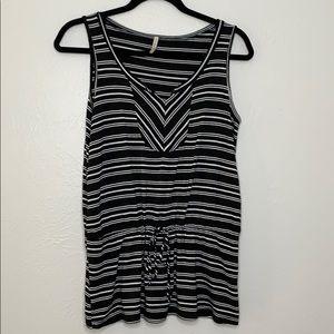 Olivia moon black white stripe sleeveless top S